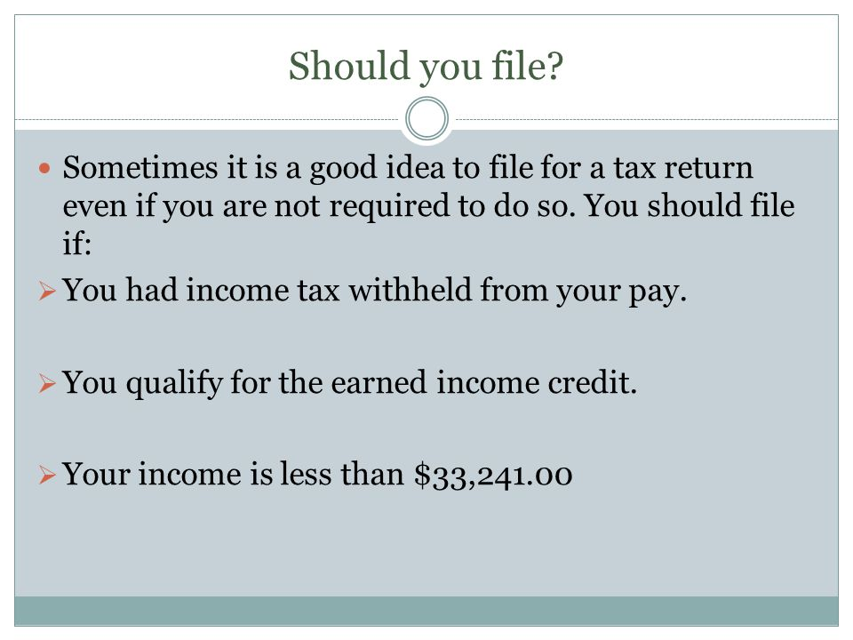 Should you file.
