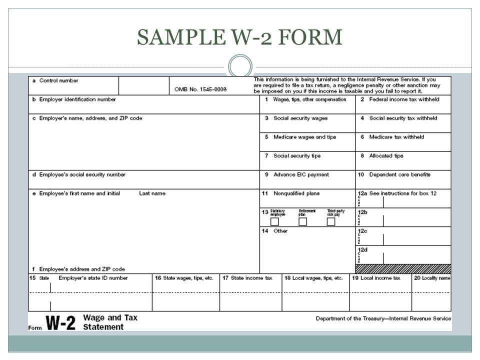 SAMPLE W-2 FORM