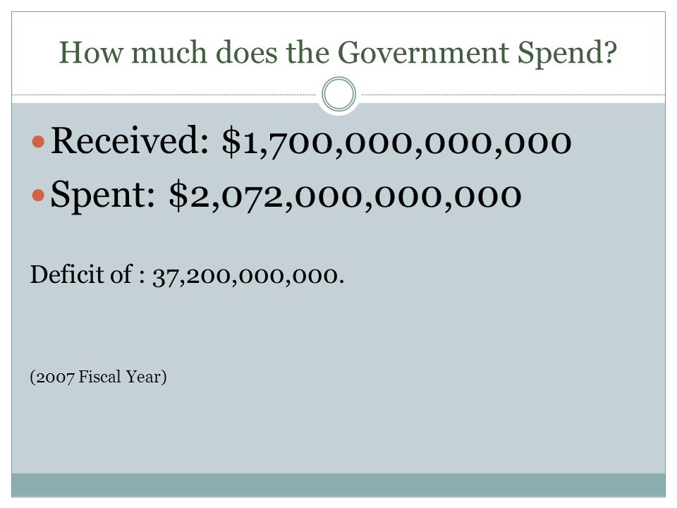 How much does the Government Spend? Received: $1,700,000,000,000 Spent: $2,072,000,000,000 Deficit of : 37,200,000,000. (2007 Fiscal Year)