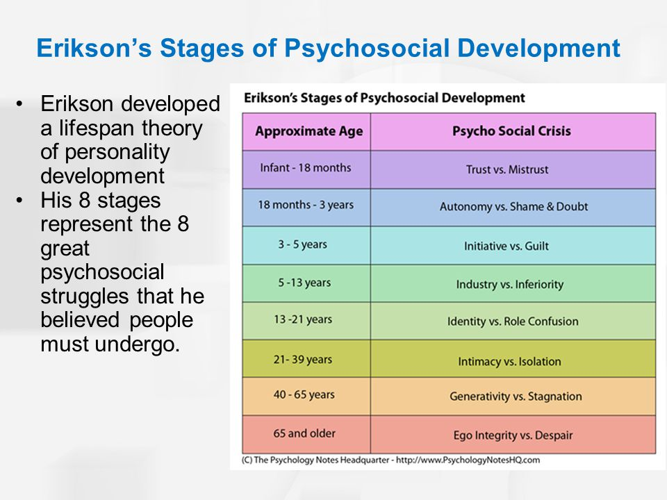 Eriksons Stages of Psychosocial Development Erikson developed a lifespan theory of personality development His 8 stages represent the 8 great psychosocial struggles that he believed people must undergo.