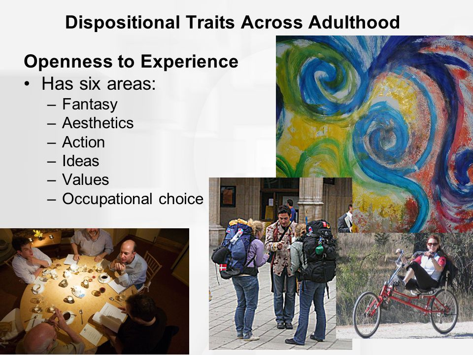 Dispositional Traits Across Adulthood Openness to Experience Has six areas: –Fantasy –Aesthetics –Action –Ideas –Values –Occupational choice