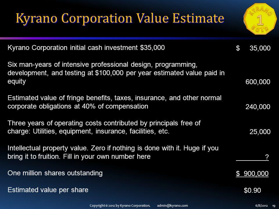 Copyright © 2012 by Kyrano Corporation. admin@kyrano.com6/8/2012 19 Kyrano Corporation Value Estimate Kyrano Corporation initial cash investment $35,0