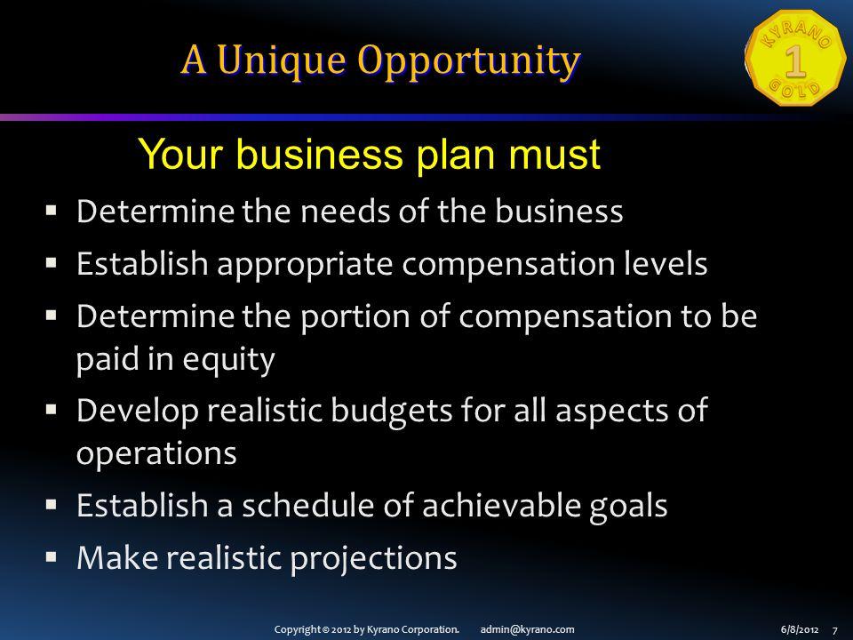 Copyright © 2012 by Kyrano Corporation. admin@kyrano.com6/8/2012 7 A Unique Opportunity Determine the needs of the business Establish appropriate comp