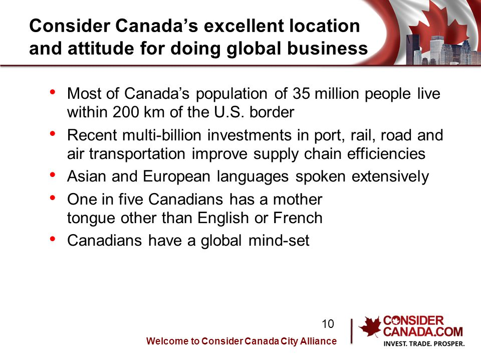 Consider Canadas excellent location and attitude for doing global business Most of Canadas population of 35 million people live within 200 km of the U.S.