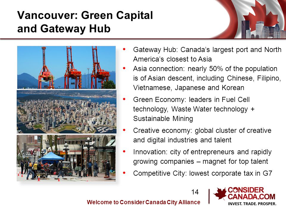 Vancouver: Green Capital and Gateway Hub Gateway Hub: Canadas largest port and North Americas closest to Asia Asia connection: nearly 50% of the population is of Asian descent, including Chinese, Filipino, Vietnamese, Japanese and Korean Green Economy: leaders in Fuel Cell technology, Waste Water technology + Sustainable Mining Creative economy: global cluster of creative and digital industries and talent Innovation: city of entrepreneurs and rapidly growing companies – magnet for top talent Competitive City: lowest corporate tax in G7 Welcome to Consider Canada City Alliance 14