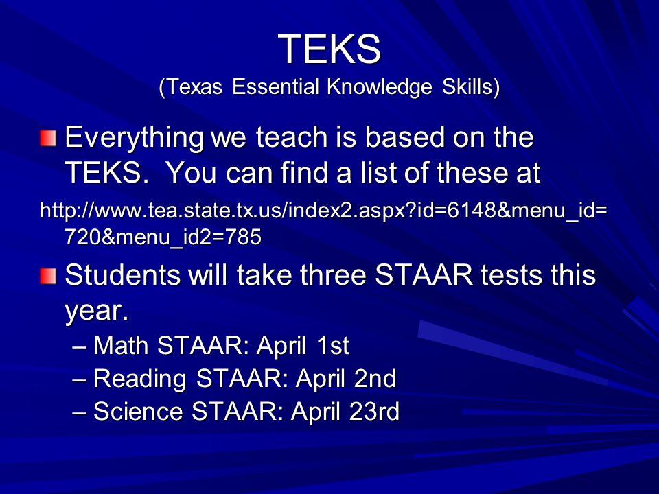 TEKS (Texas Essential Knowledge Skills) Everything we teach is based on the TEKS.
