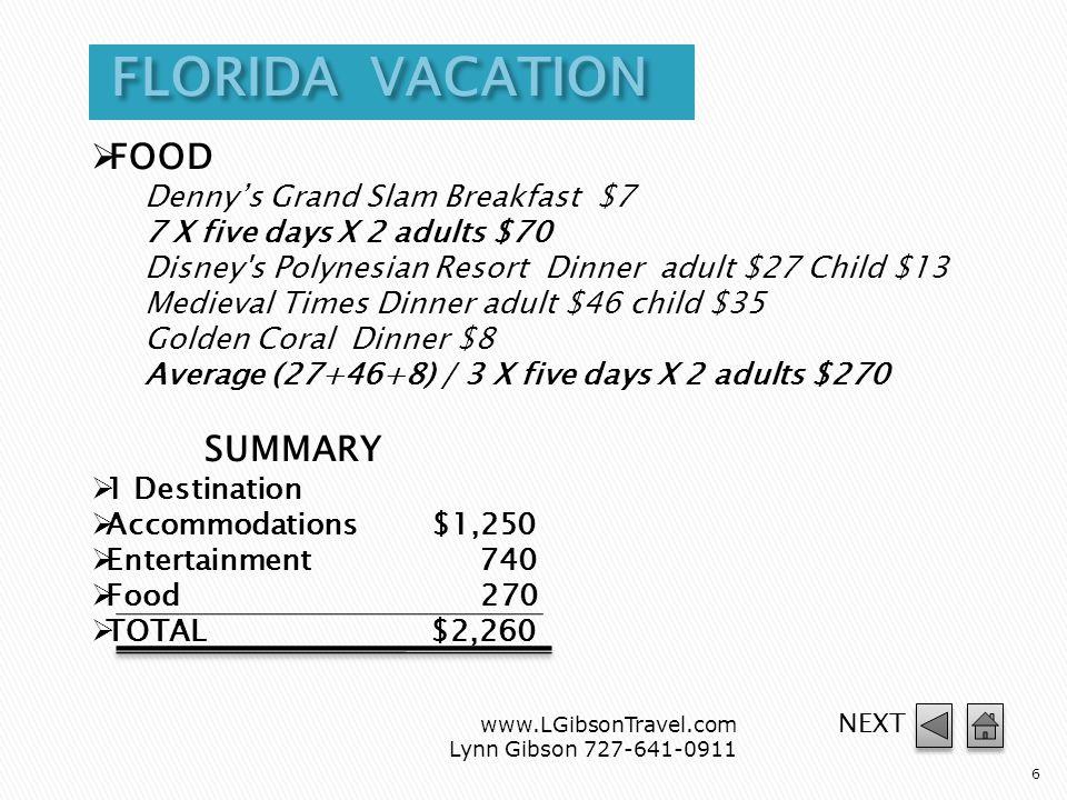 www.LGibsonTravel.com Lynn Gibson 727-641-0911 5 DESTINATION Orlando ACCOMMODATIONS Marriott World Center $340 night Disney s Polynesian Resort $270 night Radisson $140 night Average (340+270+140) / 3 X five days $1250 ENTERTAINMENT Walt Disney World® ages 10+ $67.50 Age 3-9 $56.70 Universal Studios Florida adult $75.00 Child $63 Sea World Orlando adult $69.95 Child $59.95 Typhoon Lagoon adult $85 Child $71 Average (67.50+75.00+69.95+85) / 4 X five days X 2 adults $743.62 continued NEXT