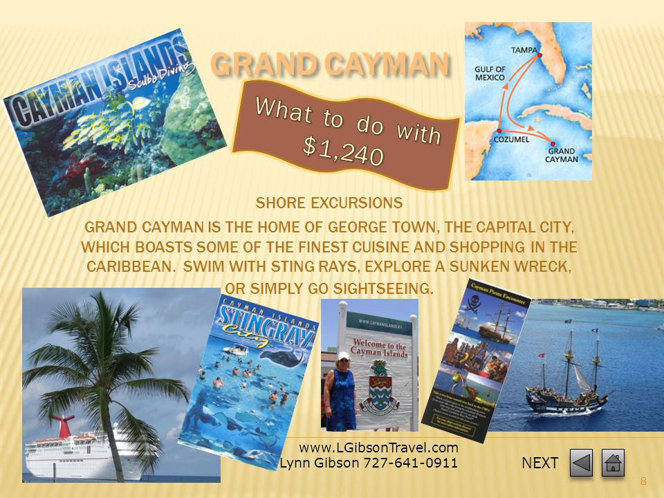 www.LGibsonTravel.com Lynn Gibson 727-641-0911 7 2 ADULTS - Destinations – Cozumel & Cayman Islands Ocean View Category 6D included Fund Raiser TBC ($25 X 2 = $50) included Gratuity ($50 X 2) included Gov Fees / Taxes for 2 included Entertainment Las Vegas Style Shows included Food –Breakfast, Lunch, Dinner included Pool, miniature golf, water slide, games included Piano Bar, Dancing, Karaoke included 5 Romantic Evenings (priceless) TOTAL for 2 around $1,020 *Rates are not final until booking is completed.