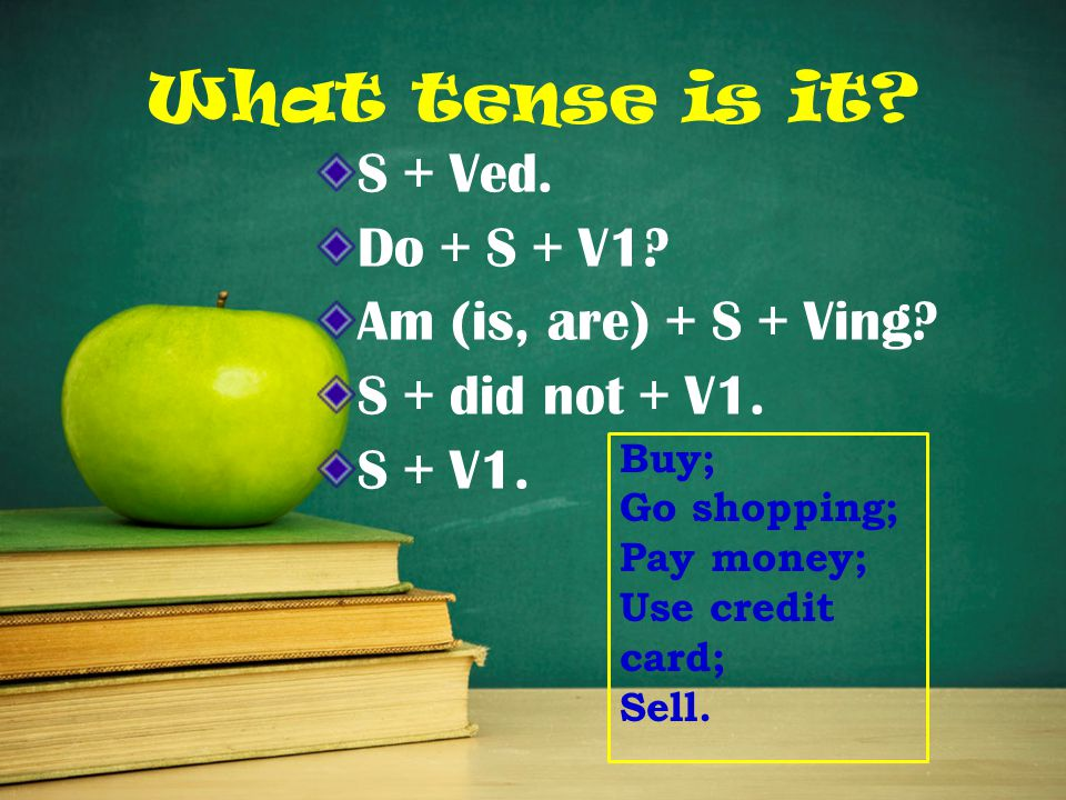 What tense is it. S + Ved. Do + S + V1. Am (is, are) + S + Ving.