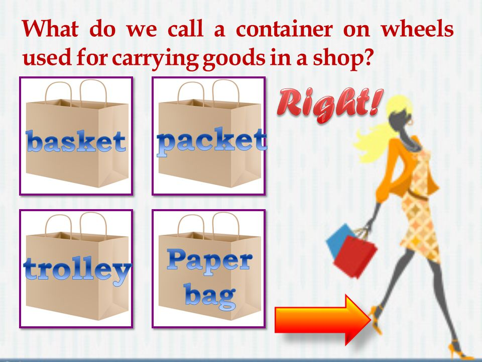 What do we call a container on wheels used for carrying goods in a shop