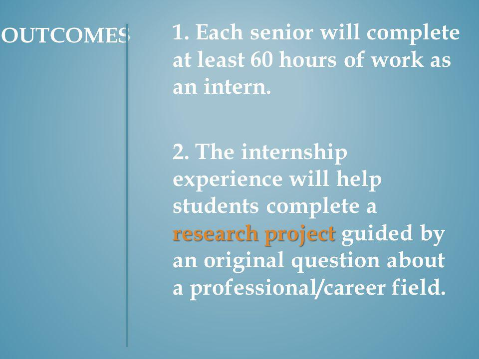 1. Each senior will complete at least 60 hours of work as an intern.