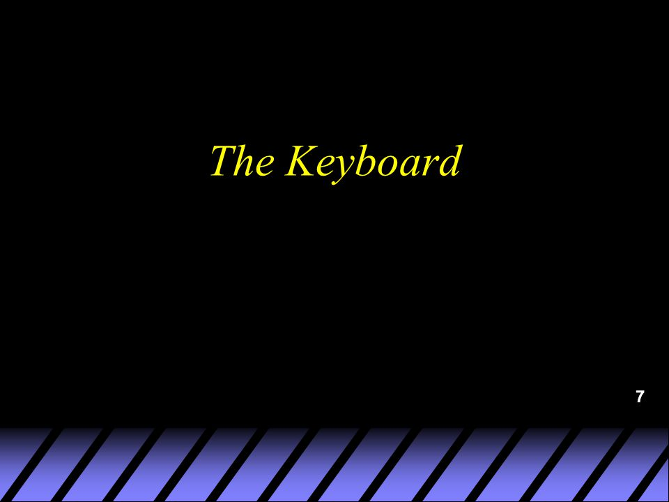 8 A keyboard is an electronically controlled device used to enter alphanumeric data (letters, numbers, and special characters) into the computer.
