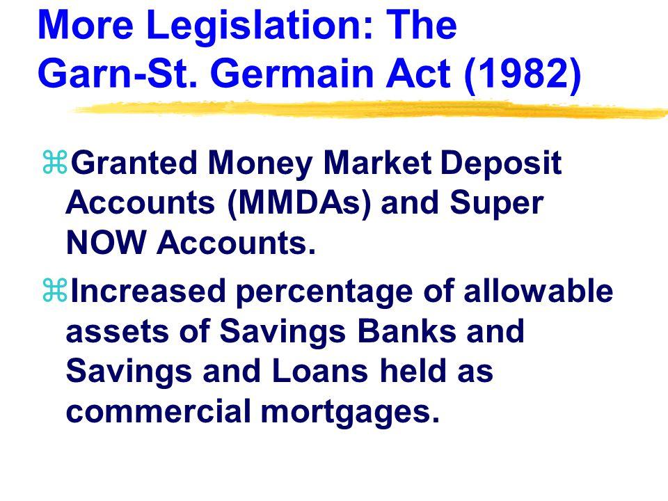 More Legislation: The Garn-St.