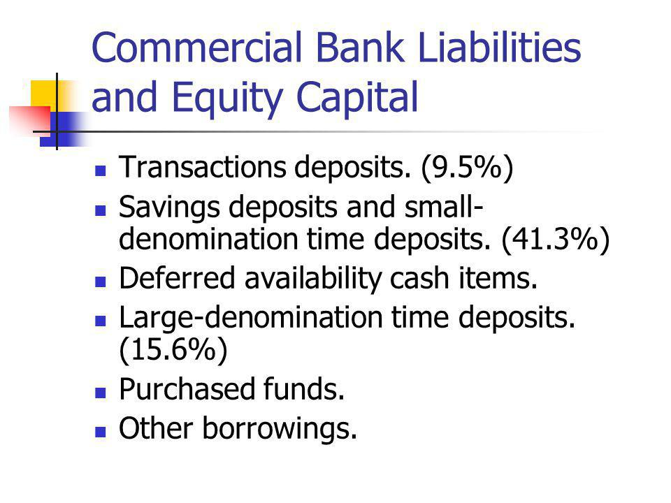 Commercial Bank Liabilities and Equity Capital Transactions deposits. (9.5%) Savings deposits and small- denomination time deposits. (41.3%) Deferred