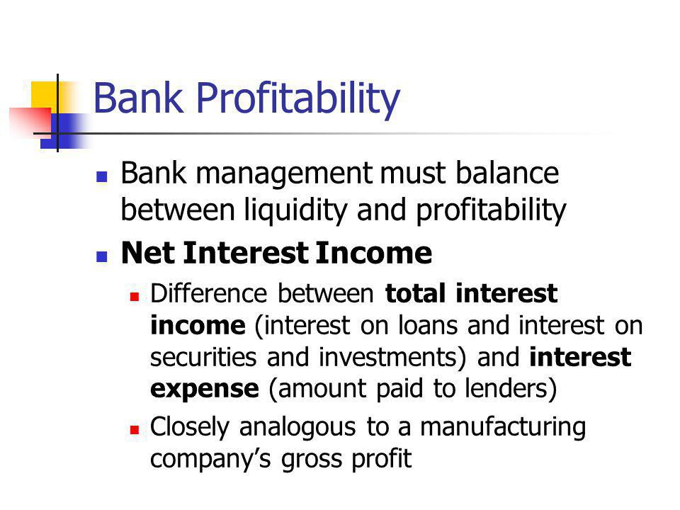 Bank Profitability Bank management must balance between liquidity and profitability Net Interest Income Difference between total interest income (inte