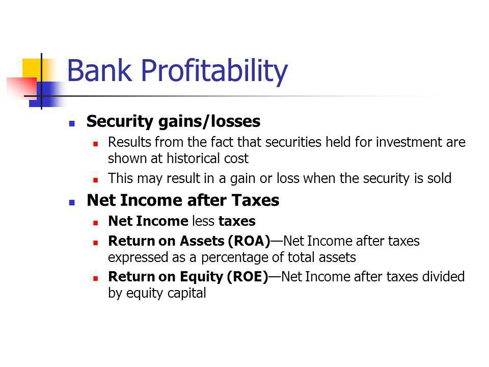 Bank Profitability Security gains/losses Results from the fact that securities held for investment are shown at historical cost This may result in a g