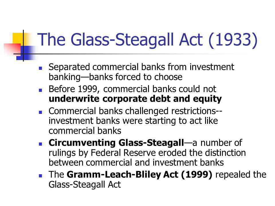 The Glass-Steagall Act (1933) Separated commercial banks from investment bankingbanks forced to choose Before 1999, commercial banks could not underwr