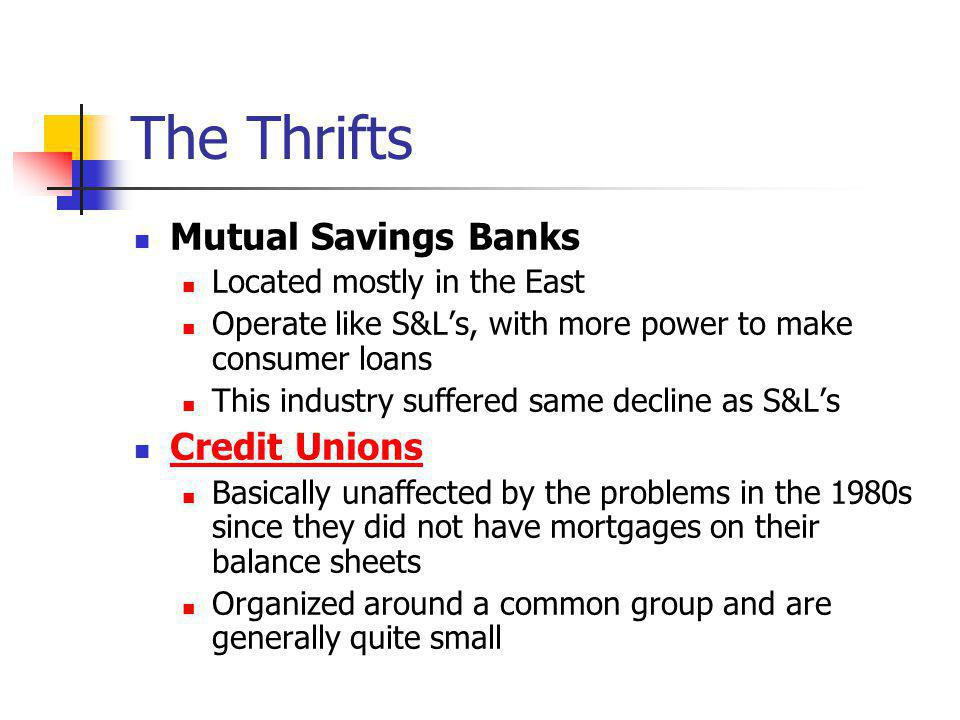 The Thrifts Mutual Savings Banks Located mostly in the East Operate like S&Ls, with more power to make consumer loans This industry suffered same decl