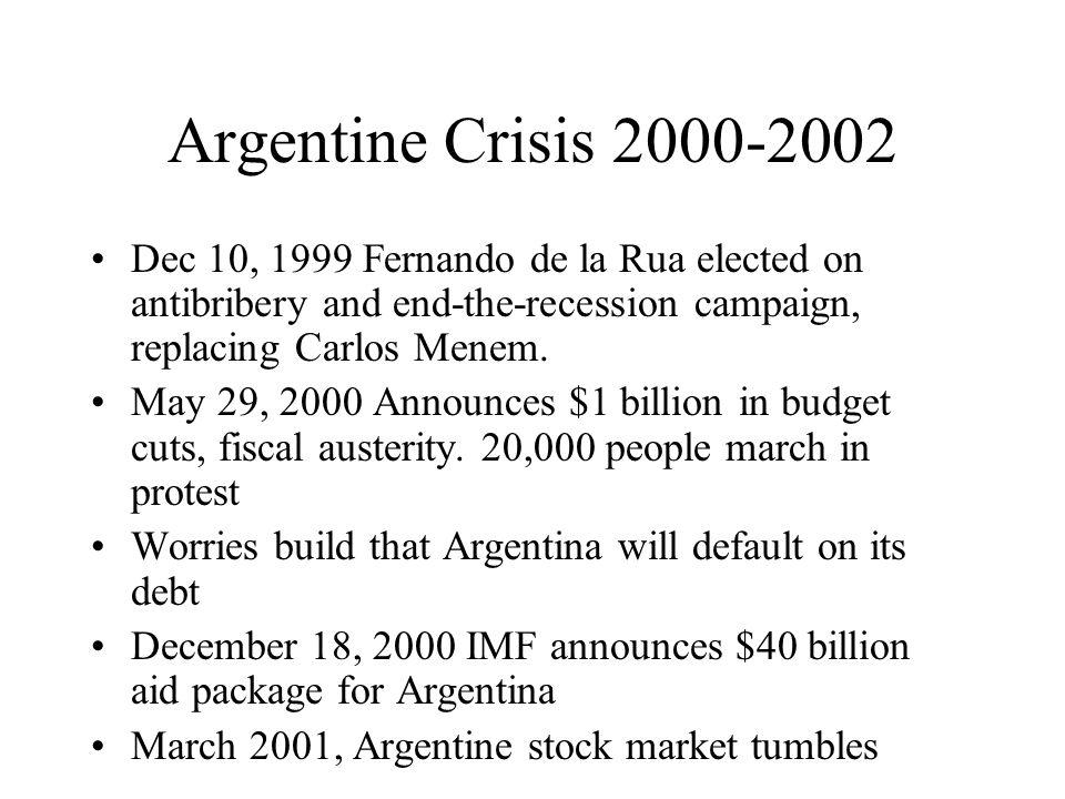 Argentine Crisis 2000-2002 Dec 10, 1999 Fernando de la Rua elected on antibribery and end-the-recession campaign, replacing Carlos Menem.