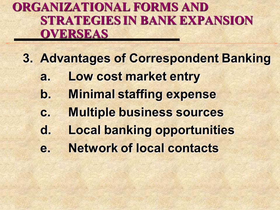 ORGANIZATIONAL FORMS AND STRATEGIES IN BANK EXPANSION OVERSEAS 3.Advantages of Correspondent Banking a.Low cost market entry b.Minimal staffing expense c.Multiple business sources d.Local banking opportunities e.Network of local contacts