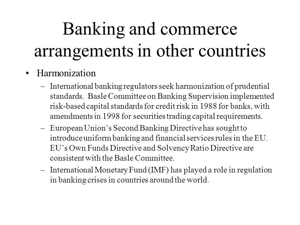 Banking and commerce arrangements in other countries Harmonization –International banking regulators seek harmonization of prudential standards.