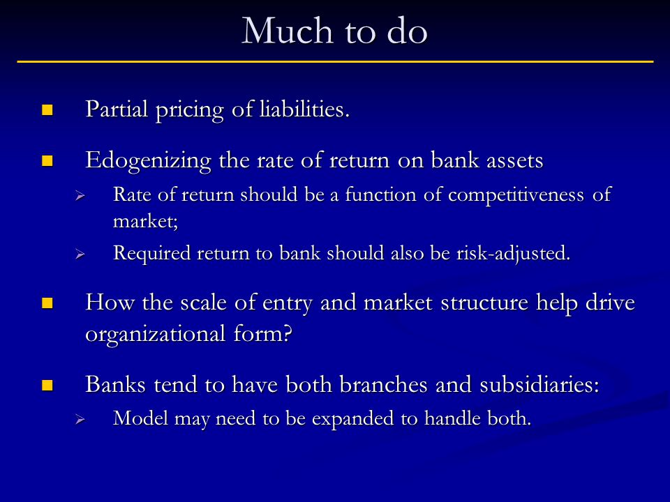Much to do Partial pricing of liabilities. Partial pricing of liabilities.
