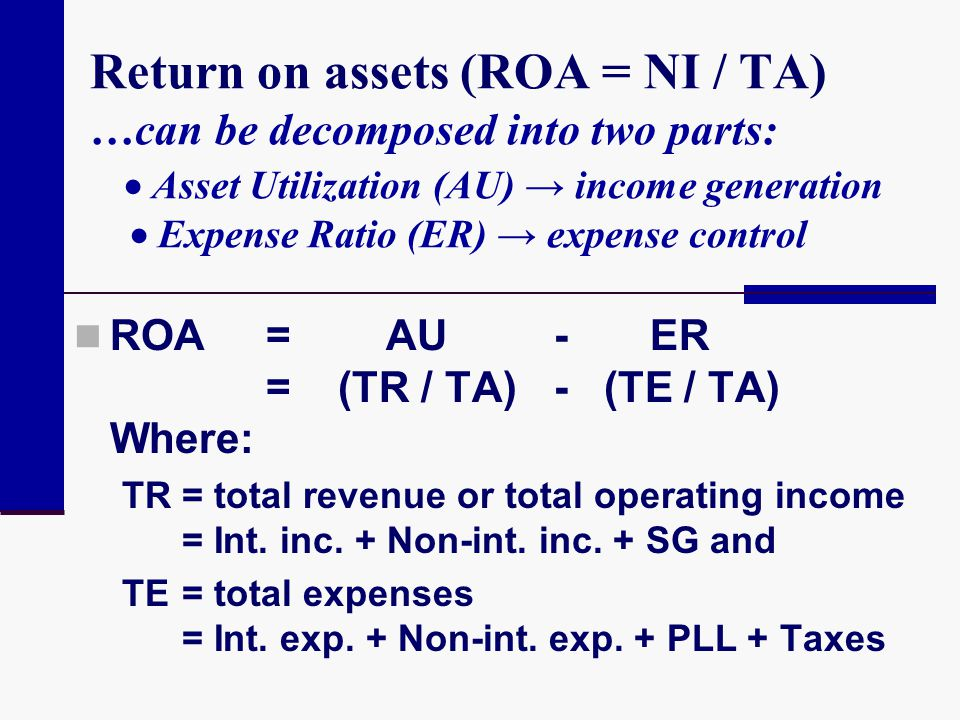 Return on assets (ROA = NI / TA) …can be decomposed into two parts: Asset Utilization (AU) income generation Expense Ratio (ER) expense control ROA= A