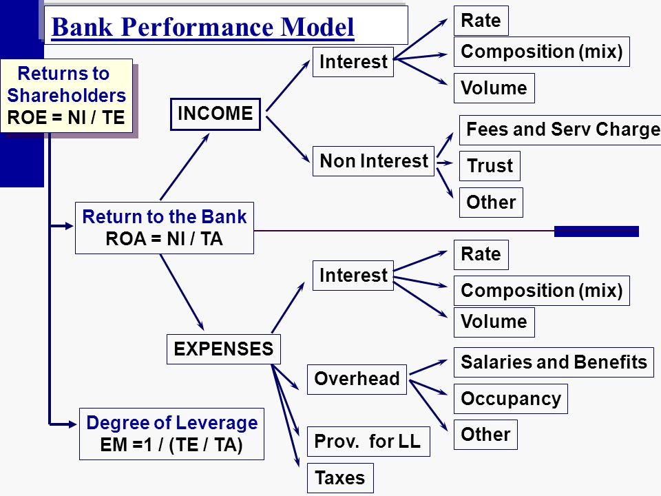 INCOME Return to the Bank ROA = NI / TA EXPENSES Rate Composition (mix) Volume Interest Overhead Prov. for LL Taxes Fees and Serv Charge Trust Other R