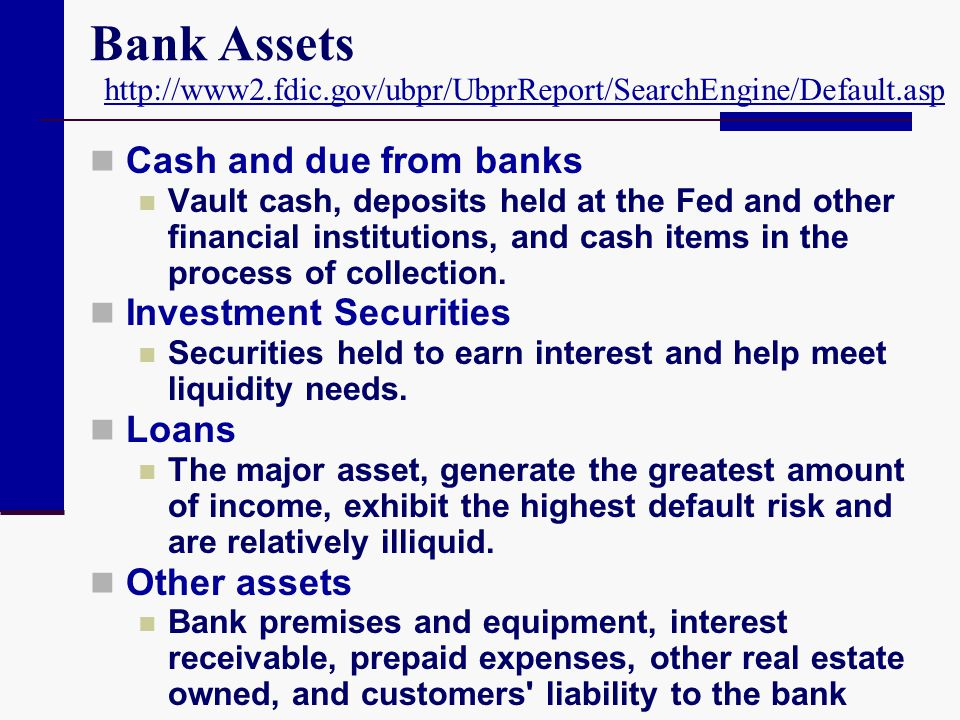 Bank Assets Cash and due from banks Vault cash, deposits held at the Fed and other financial institutions, and cash items in the process of collection