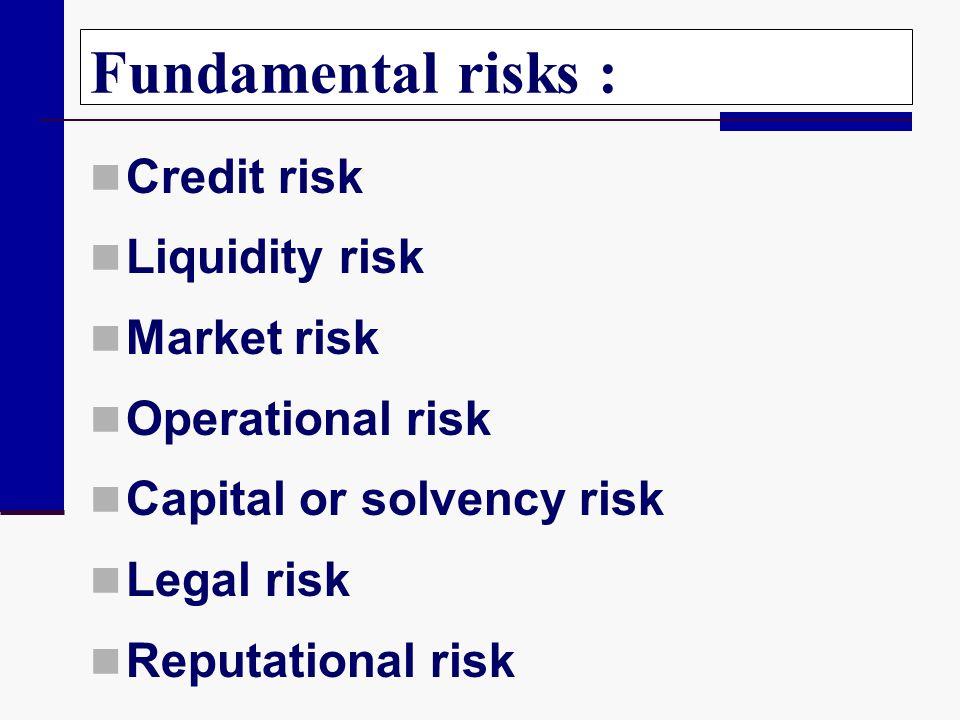 Fundamental risks : Credit risk Liquidity risk Market risk Operational risk Capital or solvency risk Legal risk Reputational risk