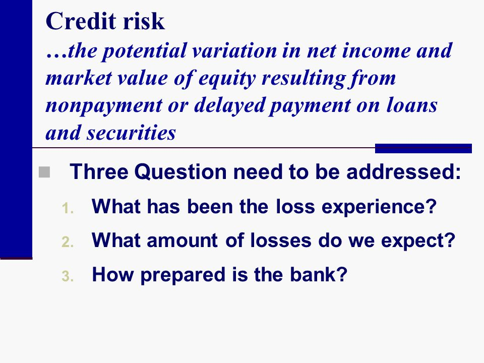 Credit risk …the potential variation in net income and market value of equity resulting from nonpayment or delayed payment on loans and securities Thr