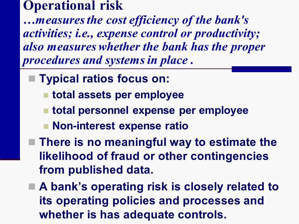 Operational risk …measures the cost efficiency of the bank's activities; i.e., expense control or productivity; also measures whether the bank has the