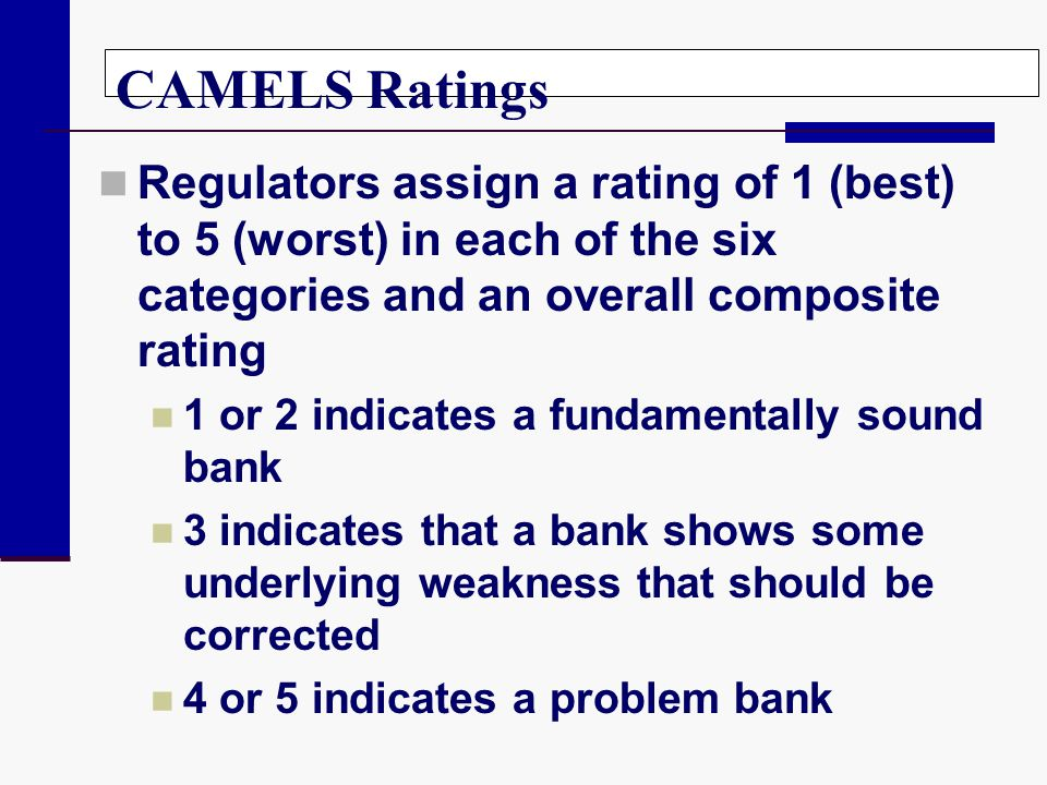 CAMELS Ratings Regulators assign a rating of 1 (best) to 5 (worst) in each of the six categories and an overall composite rating 1 or 2 indicates a fu
