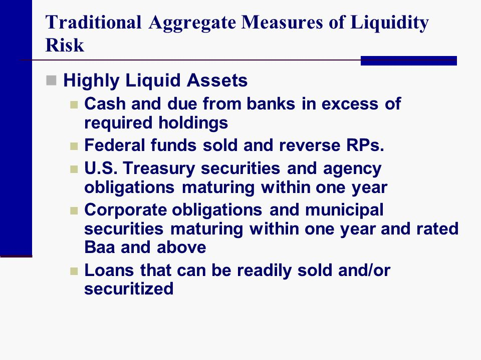 Traditional Aggregate Measures of Liquidity Risk Highly Liquid Assets Cash and due from banks in excess of required holdings Federal funds sold and re