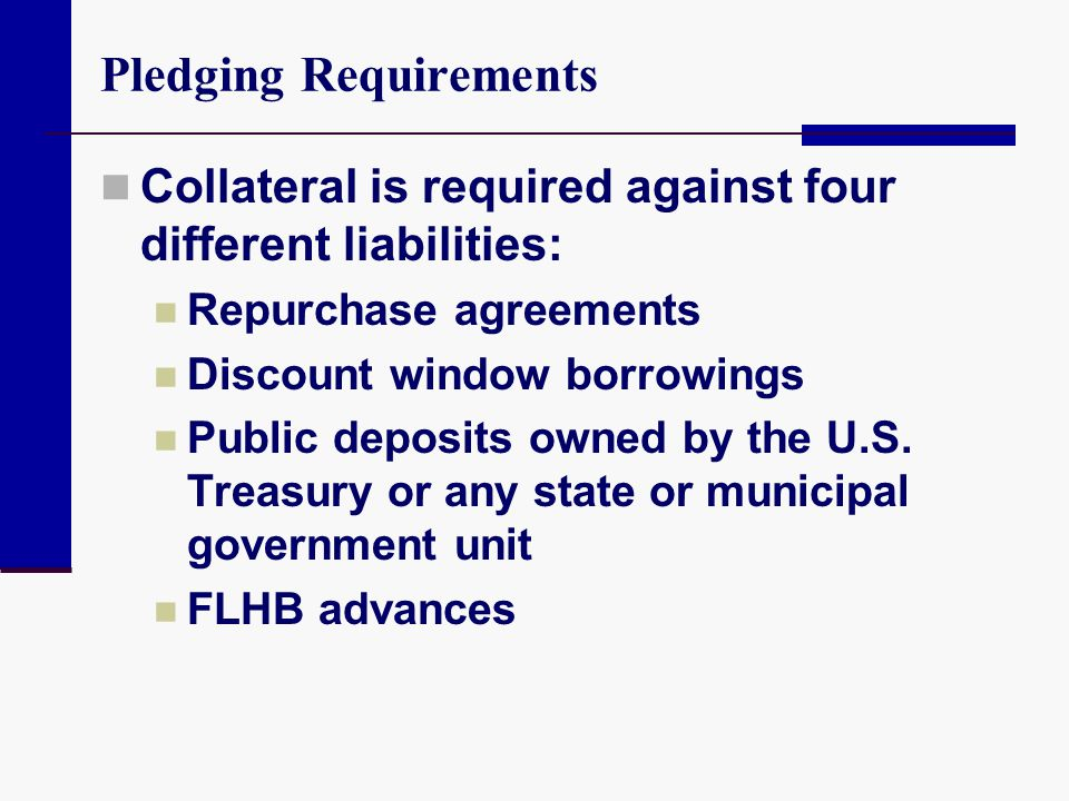 Pledging Requirements Collateral is required against four different liabilities: Repurchase agreements Discount window borrowings Public deposits owne