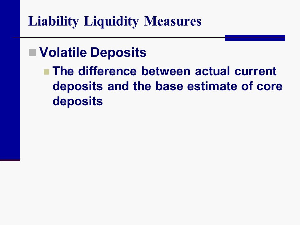 Liability Liquidity Measures Volatile Deposits The difference between actual current deposits and the base estimate of core deposits