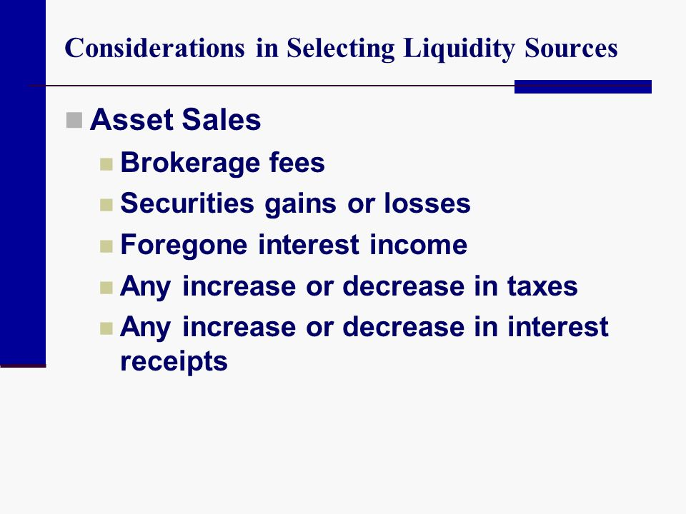 Considerations in Selecting Liquidity Sources Asset Sales Brokerage fees Securities gains or losses Foregone interest income Any increase or decrease