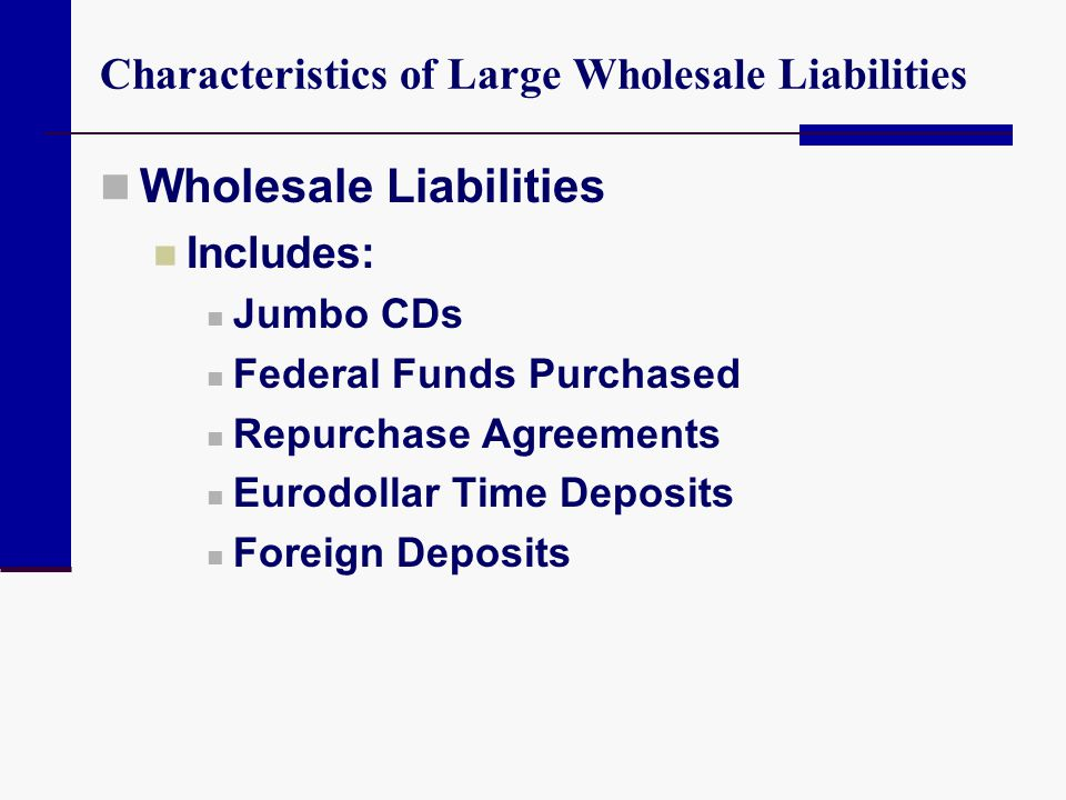 Characteristics of Large Wholesale Liabilities Wholesale Liabilities Includes: Jumbo CDs Federal Funds Purchased Repurchase Agreements Eurodollar Time