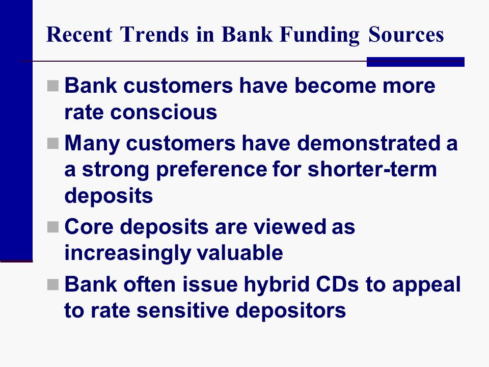 Recent Trends in Bank Funding Sources Bank customers have become more rate conscious Many customers have demonstrated a a strong preference for shorte