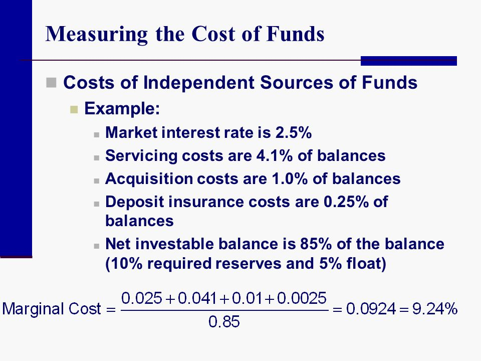Measuring the Cost of Funds Costs of Independent Sources of Funds Example: Market interest rate is 2.5% Servicing costs are 4.1% of balances Acquisiti
