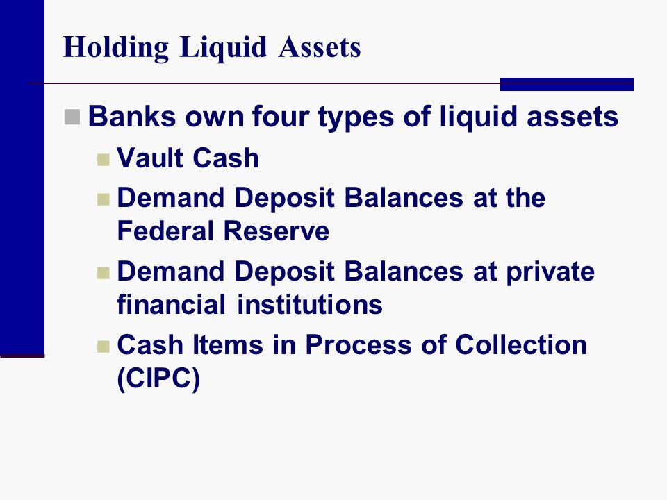 Holding Liquid Assets Banks own four types of liquid assets Vault Cash Demand Deposit Balances at the Federal Reserve Demand Deposit Balances at priva