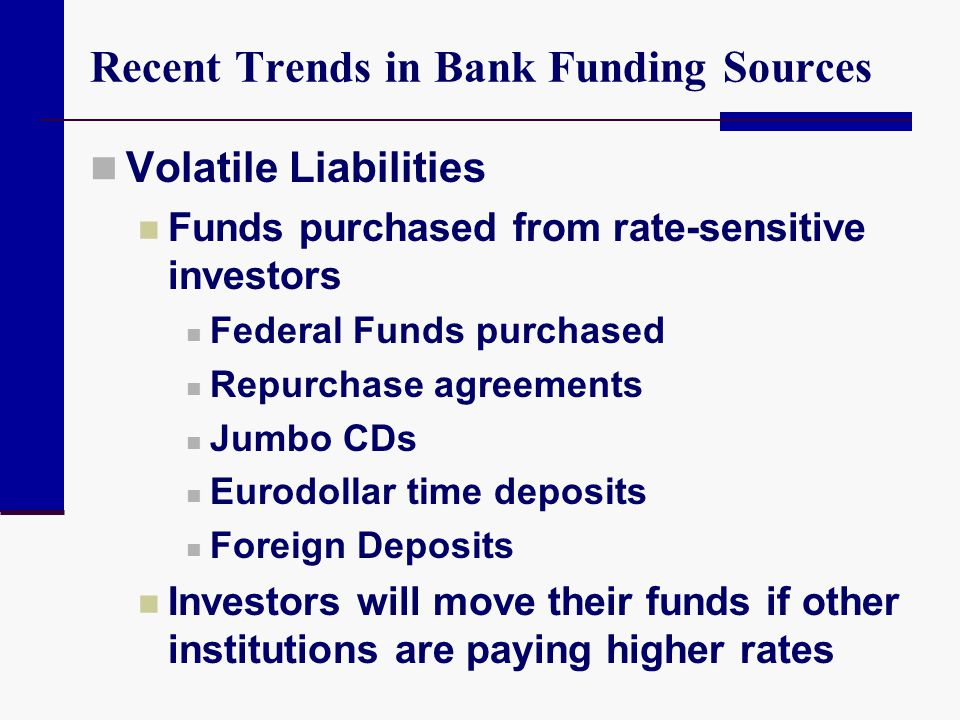 Funding Sources: Liquidity Risk Interest Elasticity How much can market interest rates change before the bank experiences deposit outflows.