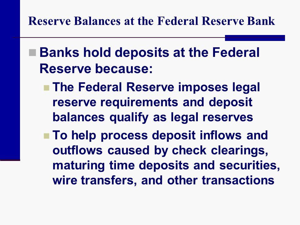 Reserve Balances at the Federal Reserve Bank Banks hold deposits at the Federal Reserve because: The Federal Reserve imposes legal reserve requirement