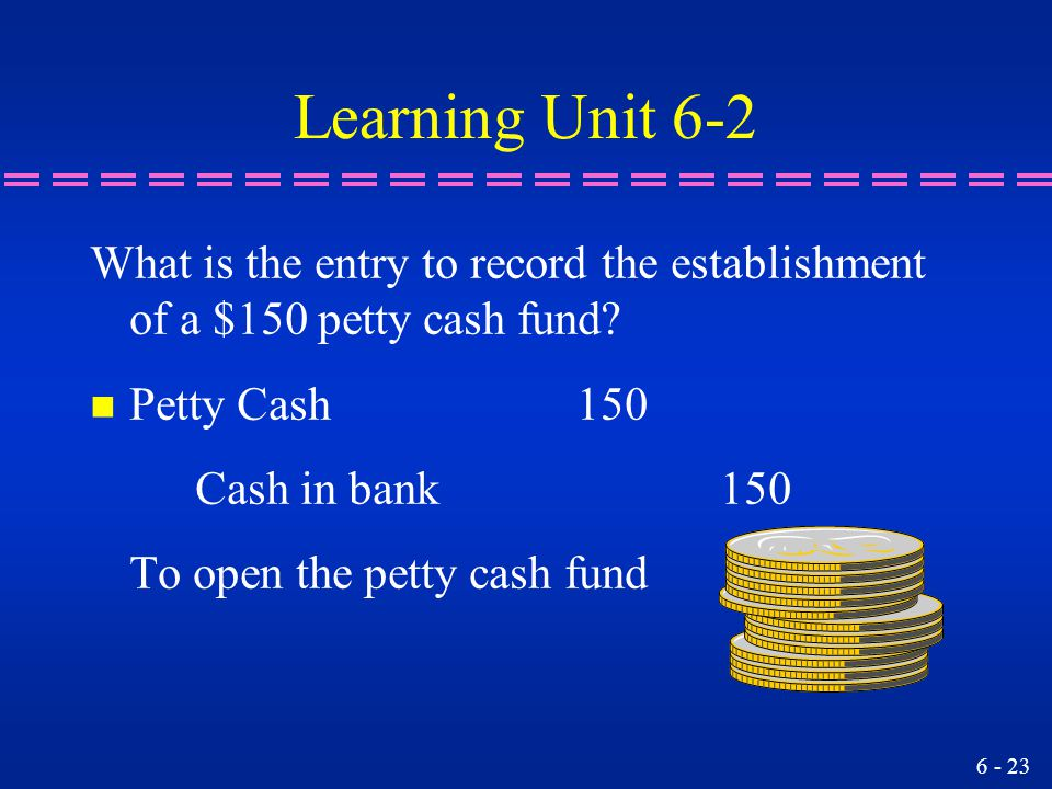 6 - 23 Learning Unit 6-2 What is the entry to record the establishment of a $150 petty cash fund? n Petty Cash 150 Cash in bank 150 To open the petty