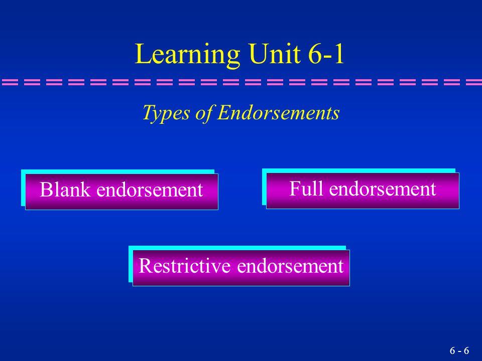6 - 6 Learning Unit 6-1 Blank endorsement Full endorsement Types of Endorsements Restrictive endorsement