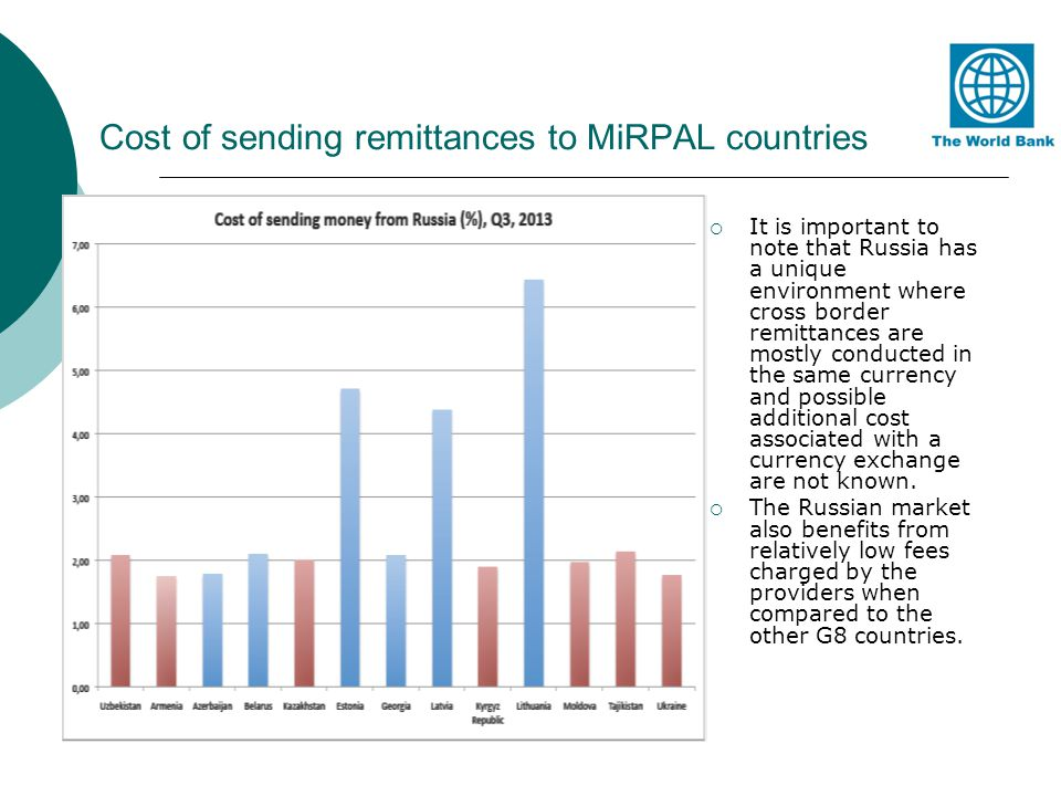 Cost of sending remittances to MiRPAL countries It is important to note that Russia has a unique environment where cross border remittances are mostly