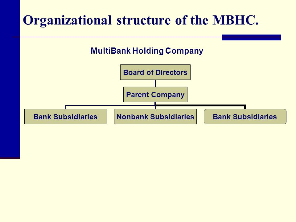 Organizational structure of the MBHC. MultiBank Holding Company
