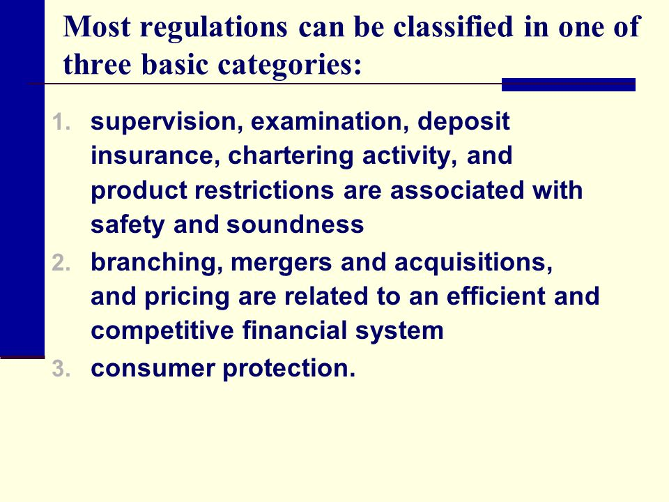 Most regulations can be classified in one of three basic categories: 1. supervision, examination, deposit insurance, chartering activity, and product