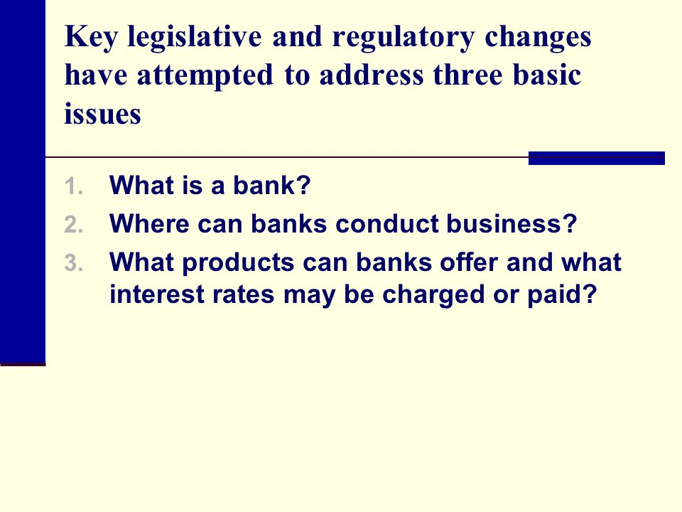 Key legislative and regulatory changes have attempted to address three basic issues 1. What is a bank? 2. Where can banks conduct business? 3. What pr
