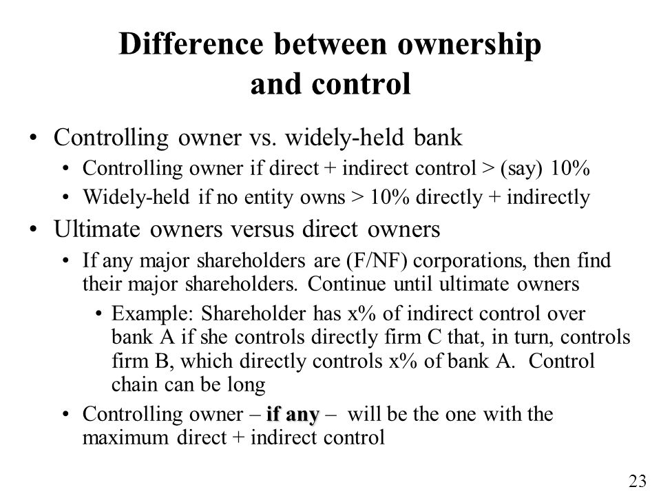 23 Difference between ownership and control Controlling owner vs.